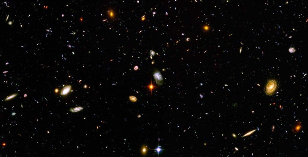 Part of the Hubble ultra deep field showing thousands of galaxies